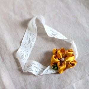 Child's Headband with Ribbon Flower and Lace Band
